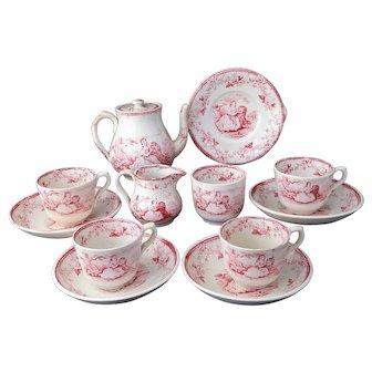 Miniature Historical Tea Set EVA 1852 Rare Staffordshire Red Childs Transferware