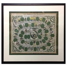 Professionally Framed Game Board ~ Mansion of Happiness 1864