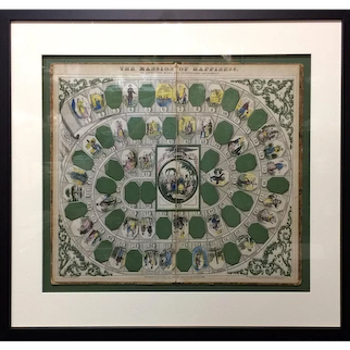 Rare Early Game Board ~ Mansion of Happiness 1864 ~ Professionally Framed