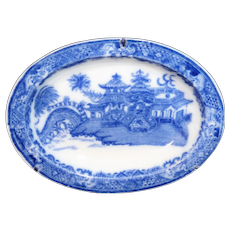 Pearlware Miniature Platter CURLING PALM Blue Willow Chinoiserie Toy Staffordshire c1800