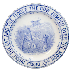 Staffordshire Child Nursery Rhyme Plate Hey Diddle Cat Fiddle Cow Moon Whittaker & Co 1890
