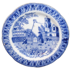 Pearlware Childs Blue Toy Plate KITE FLIER c1830 Hackwood Miniature Staffordshire
