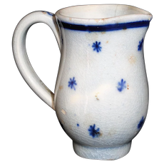Hand Decorated Pearlware Miniature Jug Flow Blue Star Snowflake Staffordshire c 1800
