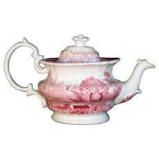 Pearlware Childs Transferware Teapot PEACOCK Godwin Staffordshire 1835