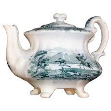 Pearlware Miniature Green Transferware Teapot  CALEDONIA Staffordshire c1840