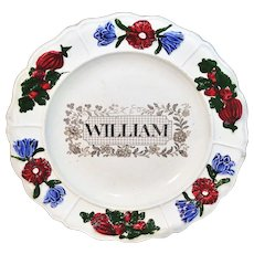 Staffordshire Childs Pearlware Name Plate for WILLIAM Staffordshire c 1830