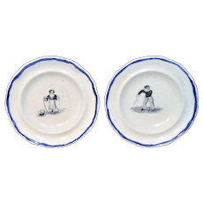 Pair of Pearlware Miniature Childs Toy Plates CHILDHOOD AMUSEMENTS Staffordshire England 1830