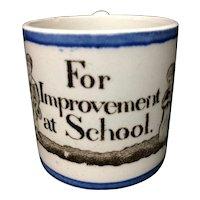 Pearlware Creamware Child's  Mug  ~ Improvement at School 1820