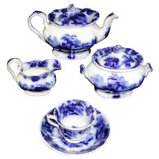 Early Flow Blue Miniature Childs Tea Set c1835 Meigh Pearlware