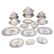 Pearlware Childs Miniature Dinner Set Service GOTHIC c1860 Alcock Staffordshire