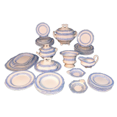 Miniature Blue Pearlware Childs Dinner Set Service  GRECIAN Frances Morley Staffordshire England c 1850