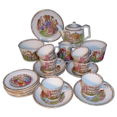 Rare CINDERELLA Transferware Polychrome Tea Set TG Green Derbyshire  c1899
