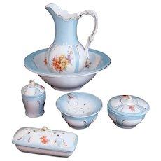 Childs Porcelain Dresser Set Dolls Pitcher & Bowl Toilette Wash Set  R S Prussia Germany c1890