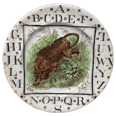 1880 ~ Staffordshire Child's  ABC Plate ~ The TIGER