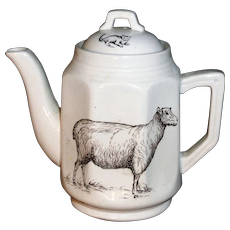 Rare Childs Transferware Teapot  SHEEP  after Kate Greenaway Staffordshire England c 1880