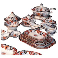 Rare Childs 58pc Imari Flow Blue  Dinner Service Minton Staffordshire c1840 Miniature