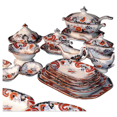 Rare Childs 58pc Imari Flow Blue  Dinner Set Service Minton Staffordshire c1840 Miniature