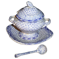 DIMITY Dimmock Miniature 4pc Tureen with Ladle 1840 Child Transferware Pearlware