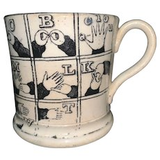 Rare Black Sign Language Alphabet Child's Mug ~ 1830