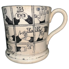 Rare Black Sign Language Alphabet Child's Mug ~ 1830