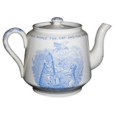 Hey Diddle Staffordshire Childs Nursery Rhyme Teapot Cat Fiddle Cow Moon Whittaker & Co 1890