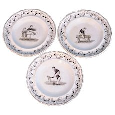 Trio of Early Transferware Childs Toy Plates SCHOOL SPORTS c1820