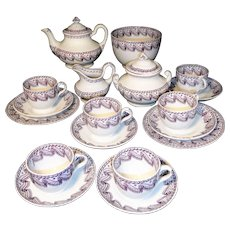 Childs Pearlware Tea Set Purple Ribbon Swirl Staffordshire 1850