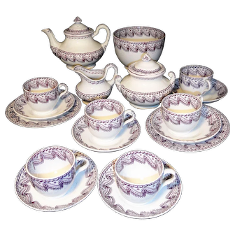 Childs Pearlware Tea Set Purple Ribbon Swirl Staffordshire 1850