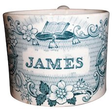 Pearlware Childs Christening Name Mug JAMES Staffordshire 1840