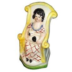 Rare Miniature Pearlware Pratt Figure Seated Cat Lady 1790-1810 Staffordshire English