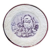 Staffordshire Childs Transferware Plate  CONGRESS of DOGS Staffordshire England c1860