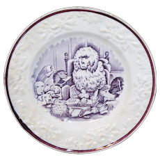 Staffordshire Childs Transferware Plate  CONGRESS of DOGS Staffordshire England c1860