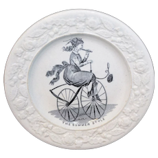 Velocipede Boneshaker Bicycle Plate Caricature Childs Plate c1830