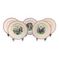 Set of 19th Century Nursery Plates ~ Red Riding Hood ~ 1860