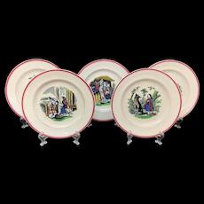 Set of 19th Century Nursery Plates ~ Red Riding Hood ~ 1860