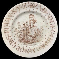 Brown Transfer ABC Plate ~ Little Boo Peep ~ 1890