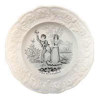 Early Child's Pearlware Transfer Printed Plate THE BUTTERFLY