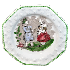 Early Childs Pearlware Plate ~ COUSINS c1840