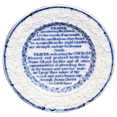 Rare Child's Religious Plate ~ Prayer on Entering and Leaving Church ~ Pearlware Staffordshire c1820