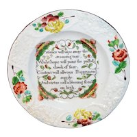 Scarce Colorful Creamware Childs Plate  Patience Hope HAPPYNESS ~ Staffordshire England c1800