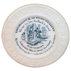 Staffordshire Childs ABC Motto Plate ~ Importance of PUNCTUALITY  c1850