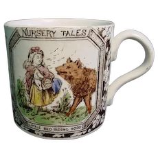 Antique Childs ABC Mug ~ Red Riding Hood 1880