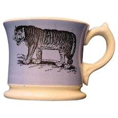 Early Slip Decorated Childs Transferware Mug ~ TIGER Wildebeest 1840