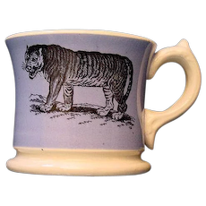 Early Slip Decorated Childs Transferware Mug ~ TIGER Wildebeest 1840