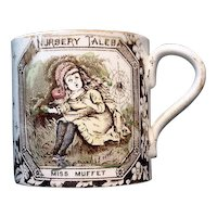 Staffordshire ABC Mug ~ Little Miss Muffet 1880