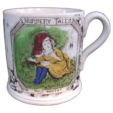 1880 Staffordshire Alphabet ABC Mug ~ Little Miss Muffet