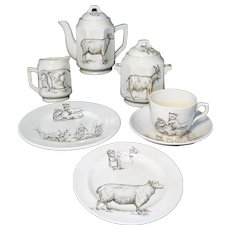 Childs Tea Set Black SHEEP RABBIT GOAT  after Kate Greenaway Staffordshire England 1880