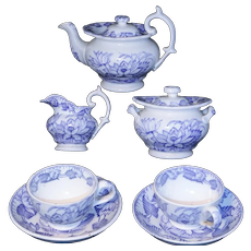 Staffordshire Childs Purple Tea Set NYMPH Water Lily 1865 H&W Mulberry Flow Blue