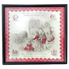 Victorian Hankie Textile Early Litho Printed Childs Nursery Rhyme BUSY BEE  c1880