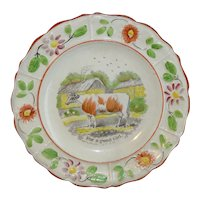 Pearlware Reward of Merit Plate for a Good Girl c1820 MILKING COW Staffordshire